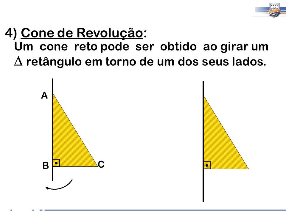 4) Cone de Revolução: Um cone reto pode ser obtido ao girar um retângulo em torno de um dos seus lados. A B C