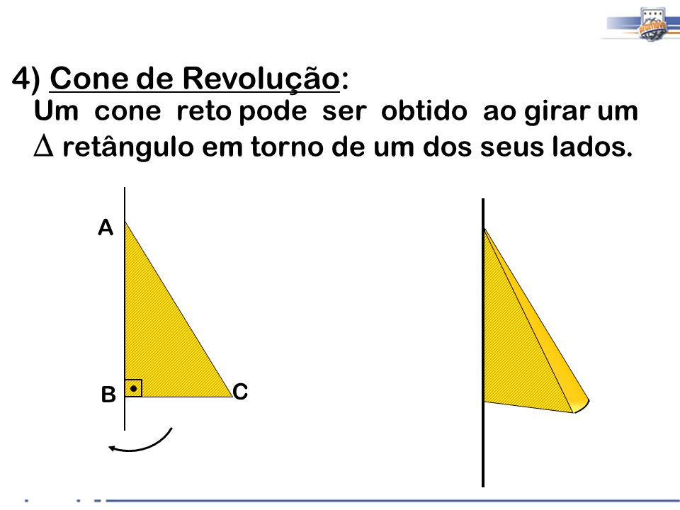 Áreas e Volume PirâmideCone Área da Base (A B ) Depende do Polígono da Base Área da circunferência Área Lateral (A L ) Área Total (A t ) Volume (V) O cone é uma pirâmide com base circular, logo as fórmulas são as mesmas das pirâmides.