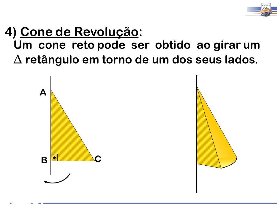 4 A B C 4) Cone de Revolução: Um cone reto pode ser obtido ao girar um retângulo em torno de um dos seus lados.