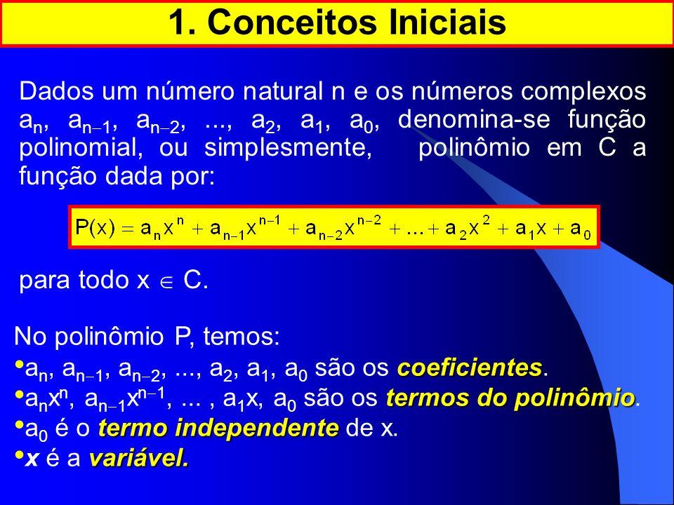 o expoente máximo n é dito grau do polinômio Se a n 0, o expoente máximo n é dito grau do polinômio.