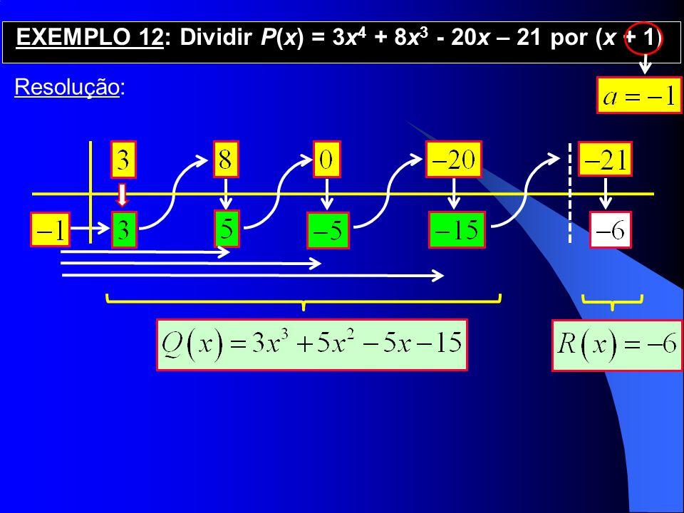 Resolução: EXEMPLO 12: Dividir P(x) = 3x 4 + 8x 3 - 20x – 21 por (x + 1)
