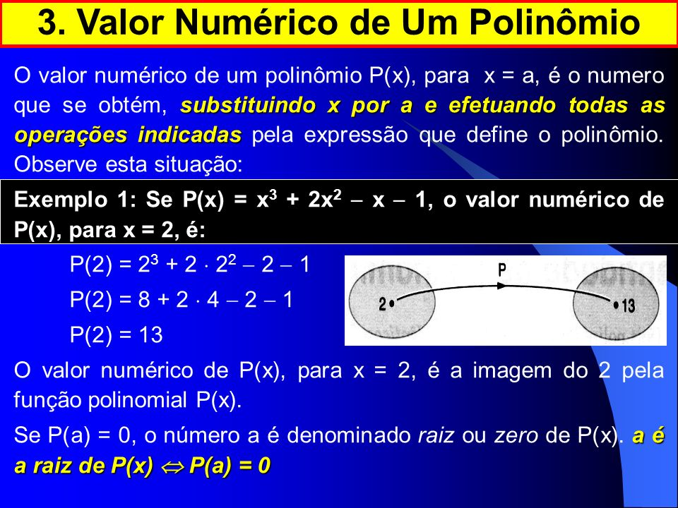 substituindo x por a e efetuando todas as operações indicadas O valor numérico de um polinômio P(x), para x = a, é o numero que se obtém, substituindo