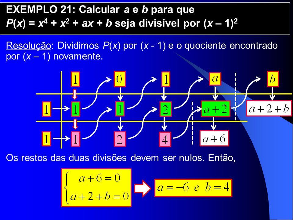 EXEMPLO 21: Calcular a e b para que P(x) = x 4 + x 2 + ax + b seja divisível por (x – 1) 2 Resolução: Dividimos P(x) por (x - 1) e o quociente encontr
