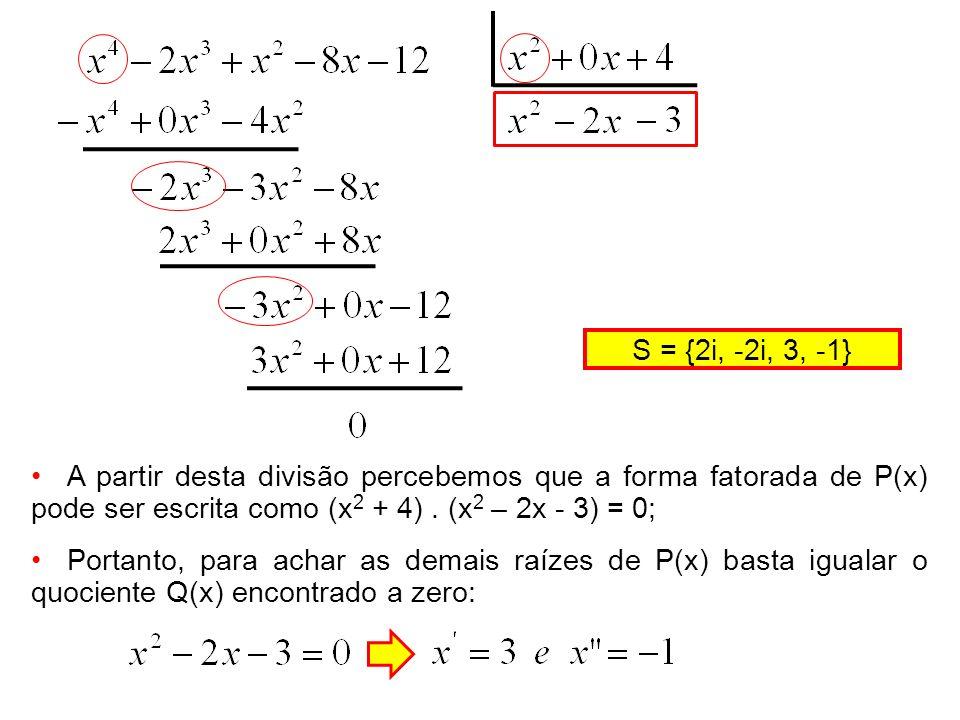 A partir desta divisão percebemos que a forma fatorada de P(x) pode ser escrita como (x 2 + 4). (x 2 – 2x - 3) = 0; Portanto, para achar as demais raí