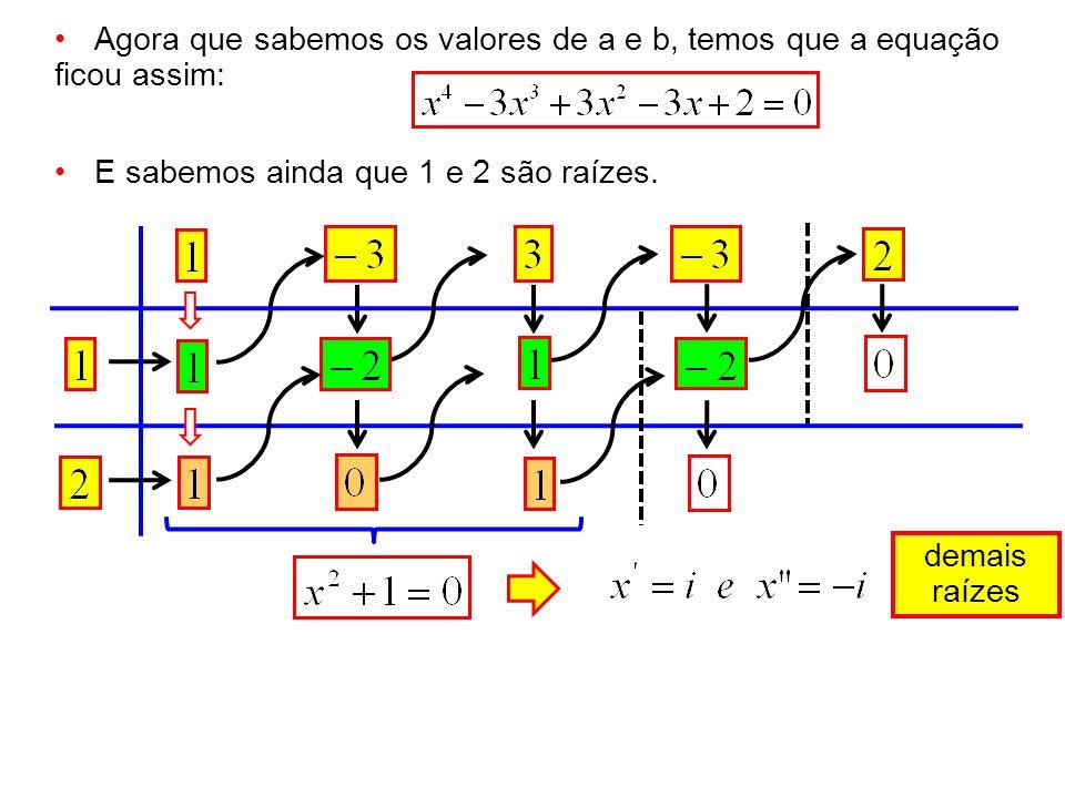 Agora que sabemos os valores de a e b, temos que a equação ficou assim: E sabemos ainda que 1 e 2 são raízes. demais raízes