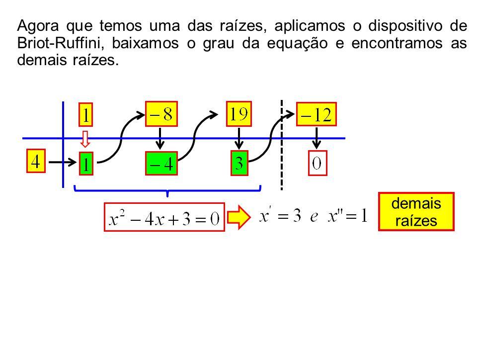 demais raízes Agora que temos uma das raízes, aplicamos o dispositivo de Briot-Ruffini, baixamos o grau da equação e encontramos as demais raízes.