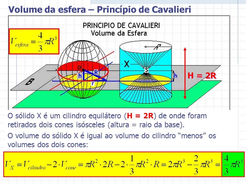 O sólido X é um cilindro equilátero (H = 2R) de onde foram retirados dois cones isósceles (altura = raio da base). O volume do sólido X é igual ao vol