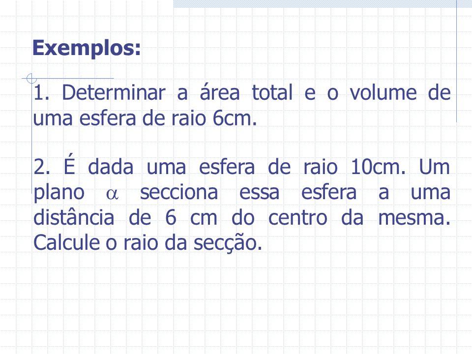 Exemplos: 1. Determinar a área total e o volume de uma esfera de raio 6cm. 2. É dada uma esfera de raio 10cm. Um plano secciona essa esfera a uma dist