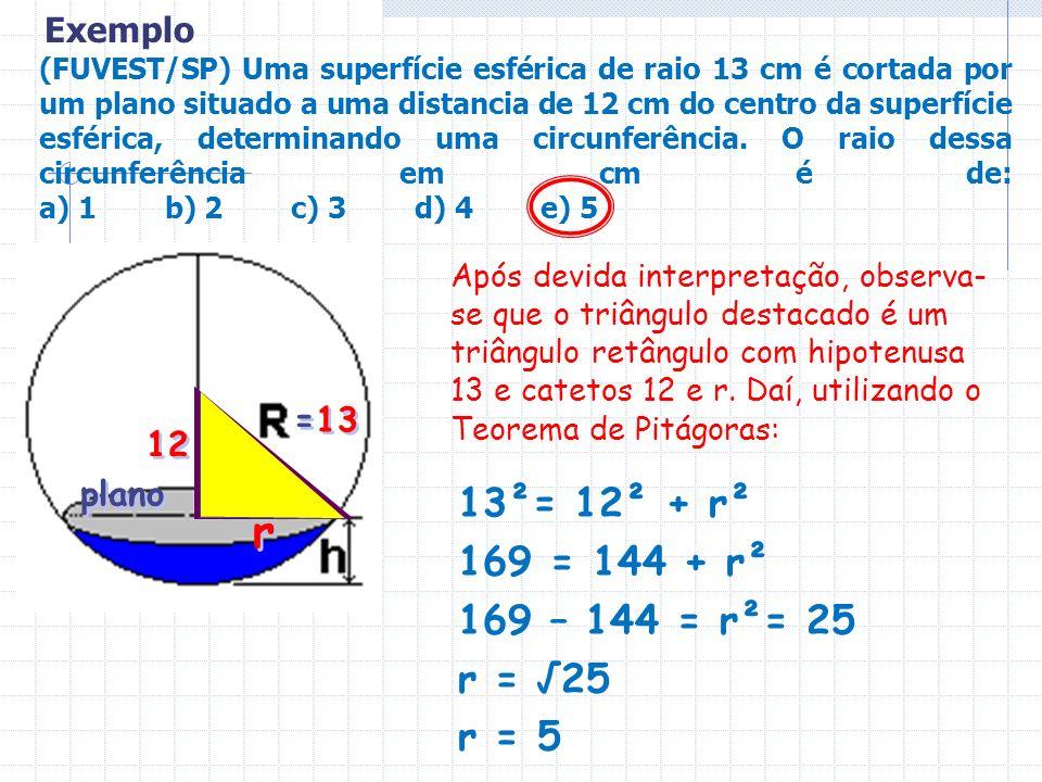 (FUVEST/SP) Uma superfície esférica de raio 13 cm é cortada por um plano situado a uma distancia de 12 cm do centro da superfície esférica, determinan