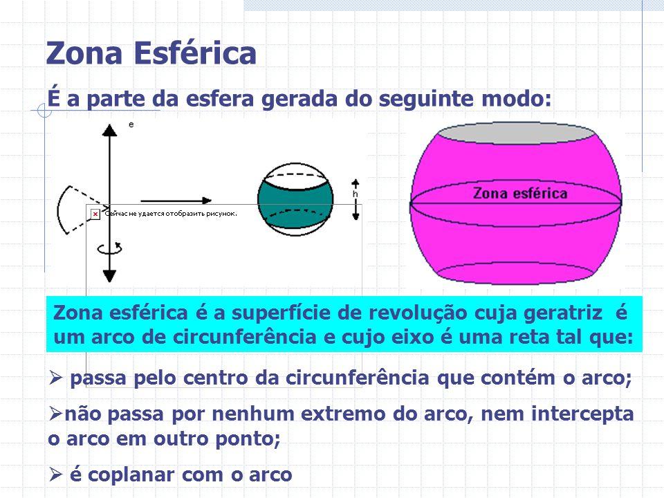 É a parte da esfera gerada do seguinte modo: Zona esférica é a superfície de revolução cuja geratriz é um arco de circunferência e cujo eixo é uma ret