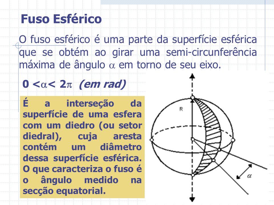 O fuso esférico é uma parte da superfície esférica que se obtém ao girar uma semi-circunferência máxima de ângulo em torno de seu eixo. 0 < < 2 (em ra