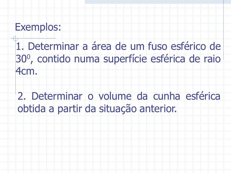 Exemplos: 1. Determinar a área de um fuso esférico de 30 0, contido numa superfície esférica de raio 4cm. 2. Determinar o volume da cunha esférica obt