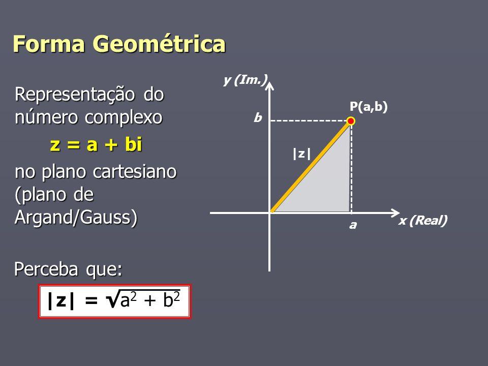 Forma Geométrica x (Real) y (Im.) a b |z| Representação do número complexo z = a + bi z = a + bi no plano cartesiano (plano de Argand/Gauss) P(a,b) Perceba que: |z| = a 2 + b 2
