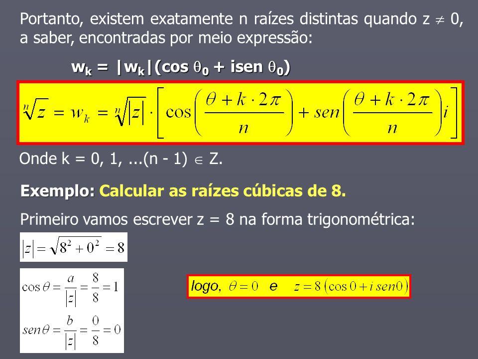 Onde k = 0, 1,...(n - 1) Z. Portanto, existem exatamente n raízes distintas quando z 0, a saber, encontradas por meio expressão: w k = |w k |(cos 0 +