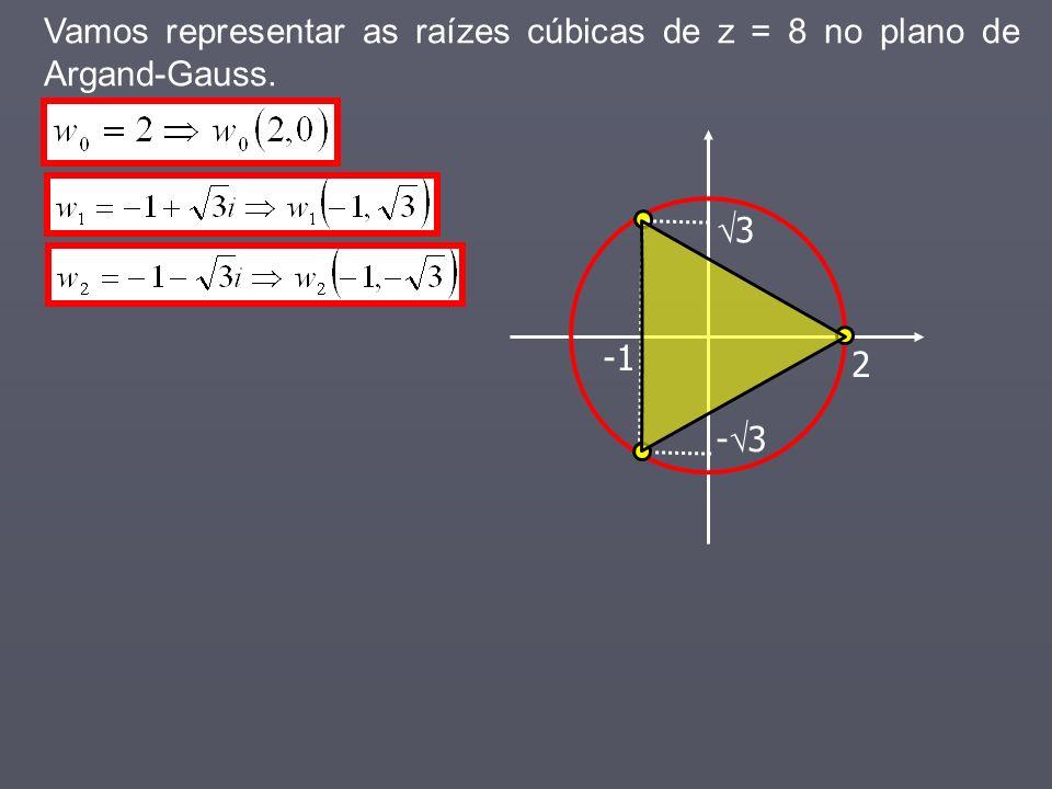Vamos representar as raízes cúbicas de z = 8 no plano de Argand-Gauss. 2 3 - 3