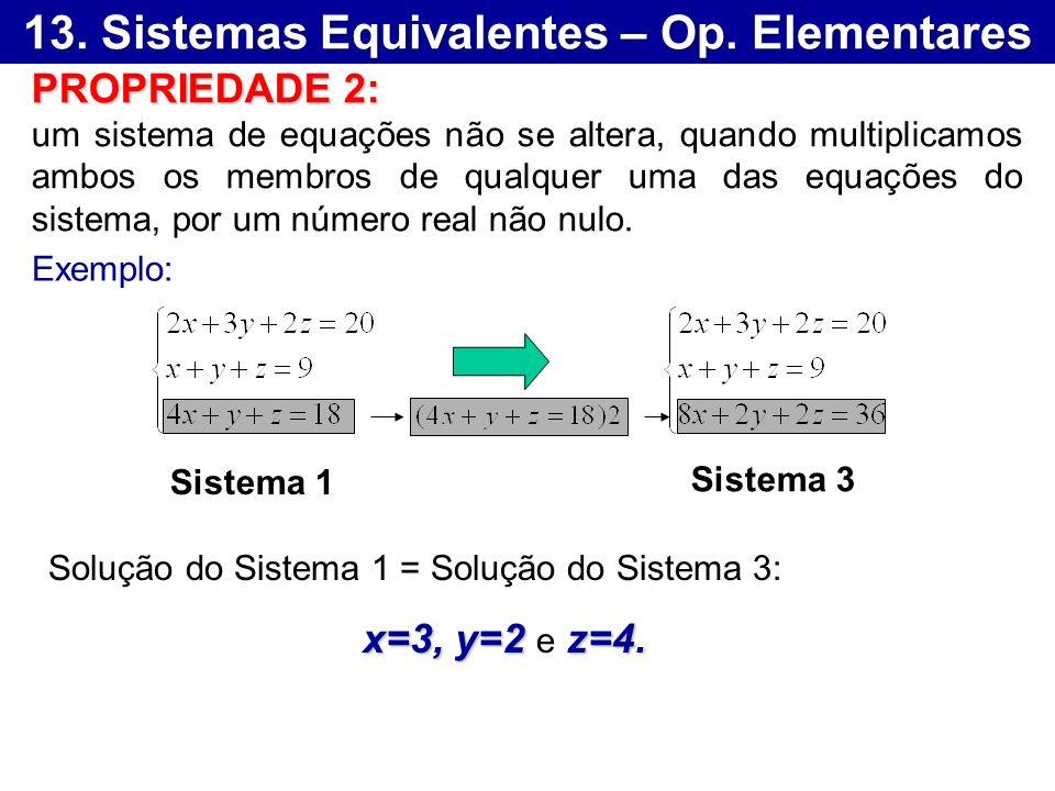 13. Sistemas Equivalentes – Op. Elementares Sistema 1 Sistema 3 Exemplo: Solução do Sistema 1 = Solução do Sistema 3: x=3, y=2 z=4. x=3, y=2 e z=4. PR