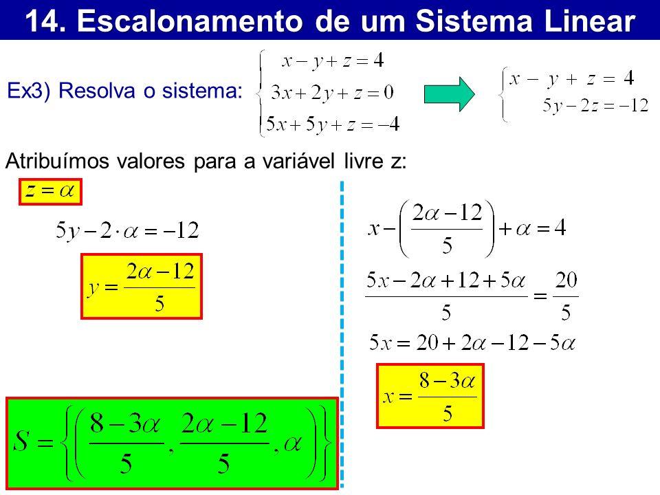 14. Escalonamento de um Sistema Linear Ex3) Resolva o sistema: Atribuímos valores para a variável livre z: