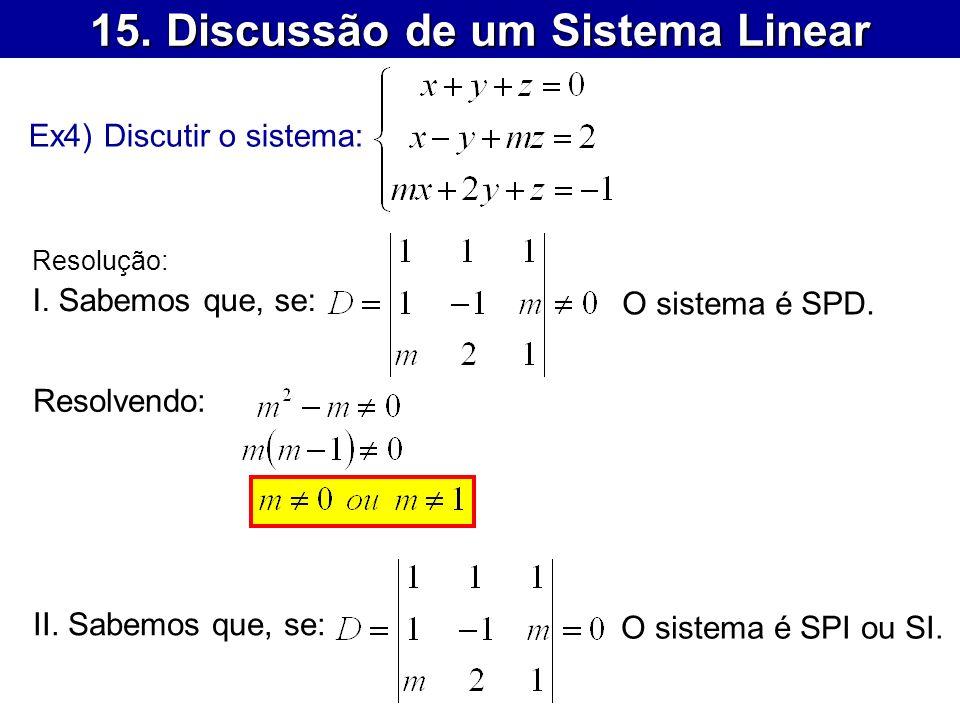 15. Discussão de um Sistema Linear Ex4) Discutir o sistema: Resolução: I. Sabemos que, se: Resolvendo: O sistema é SPD. II. Sabemos que, se: O sistema