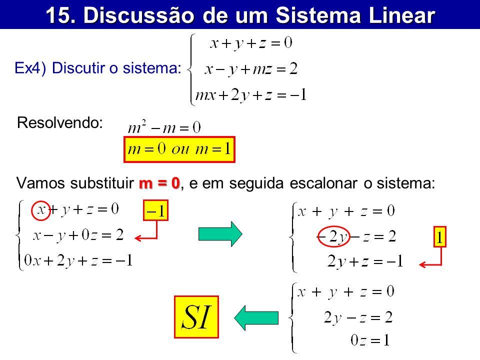 15. Discussão de um Sistema Linear Ex4) Discutir o sistema: Resolvendo: m = 0 Vamos substituir m = 0, e em seguida escalonar o sistema: