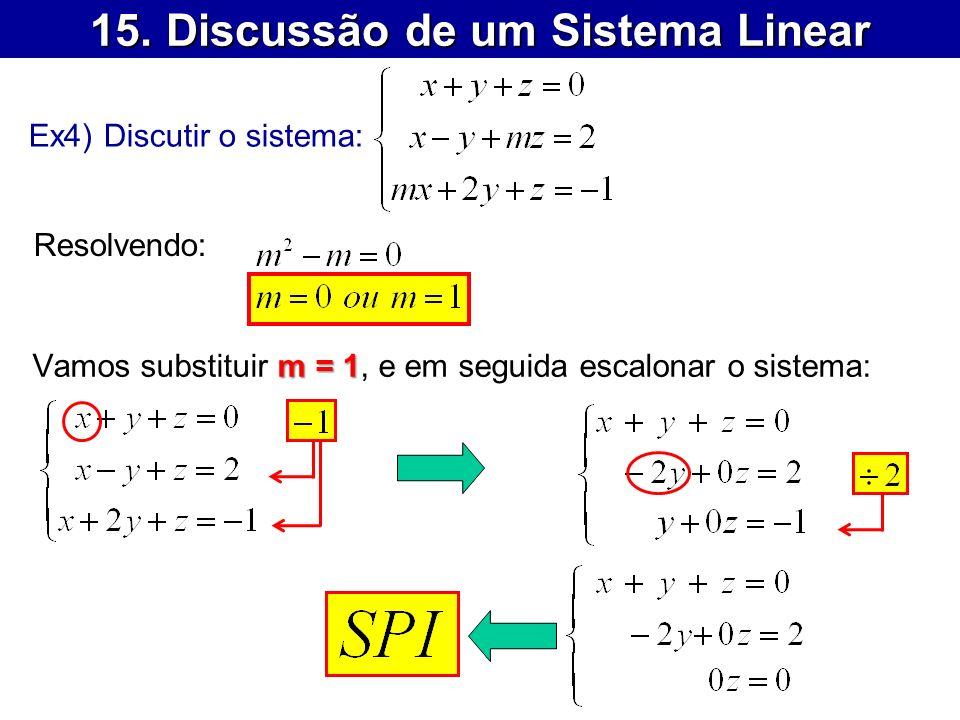 15. Discussão de um Sistema Linear Ex4) Discutir o sistema: Resolvendo: m = 1 Vamos substituir m = 1, e em seguida escalonar o sistema: