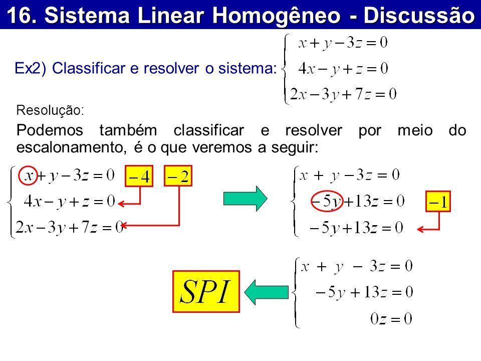 16. Sistema Linear Homogêneo - Discussão Ex2) Classificar e resolver o sistema: Resolução: Podemos também classificar e resolver por meio do escalonam