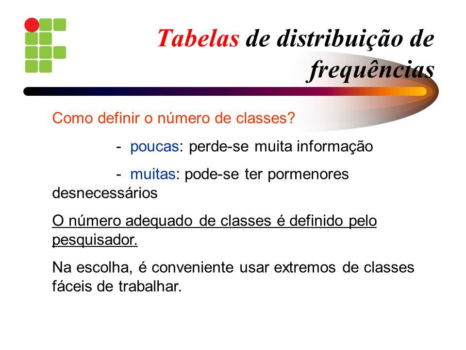 Tabelas de distribuição de frequências Como definir o número de classes? - poucas: perde-se muita informação - muitas: pode-se ter pormenores desneces