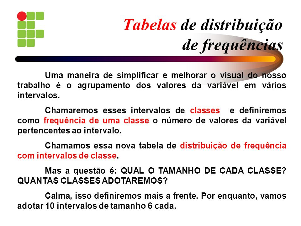 Tabelas de distribuição de frequências 14 121113 14 13 12 141314 11 12 12 141013 15 11 15 131617 14 13 TABELA 1: Vendas diárias de um determinado eletrodoméstico Forme uma distribuição de frequências sem intervalo de classe.