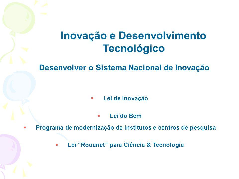 Inovação e Desenvolvimento Tecnológico Desenvolver o Sistema Nacional de Inovação Lei de Inovação Lei do Bem Programa de modernização de institutos e centros de pesquisa Lei Rouanet para Ciência & Tecnologia