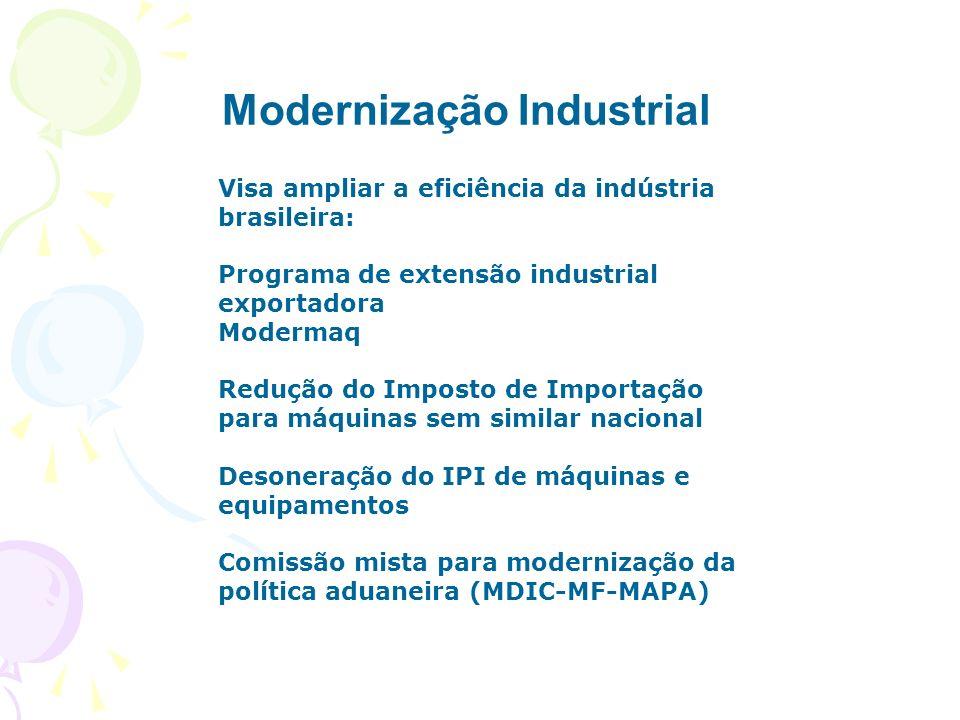 Modernização Industrial Visa ampliar a eficiência da indústria brasileira: Programa de extensão industrial exportadora Modermaq Redução do Imposto de