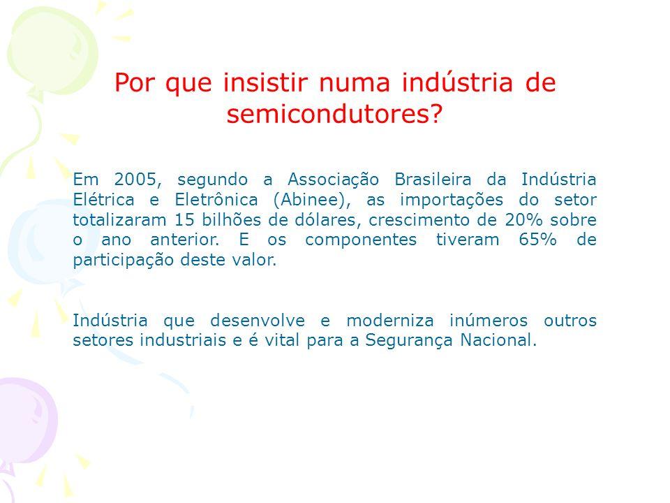 Por que insistir numa indústria de semicondutores? Em 2005, segundo a Associação Brasileira da Indústria Elétrica e Eletrônica (Abinee), as importaçõe