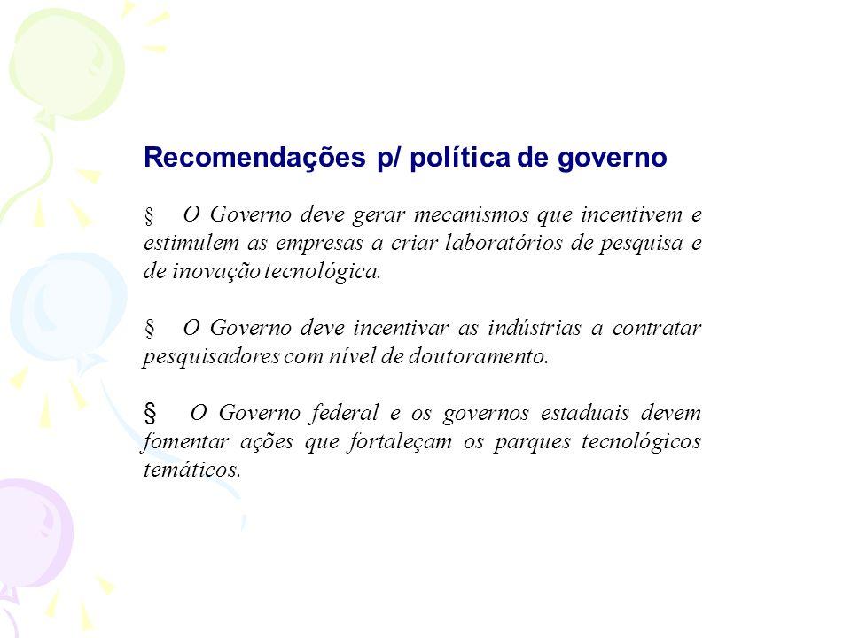 Recomendações p/ política de governo O Governo deve gerar mecanismos que incentivem e estimulem as empresas a criar laboratórios de pesquisa e de inovação tecnológica.