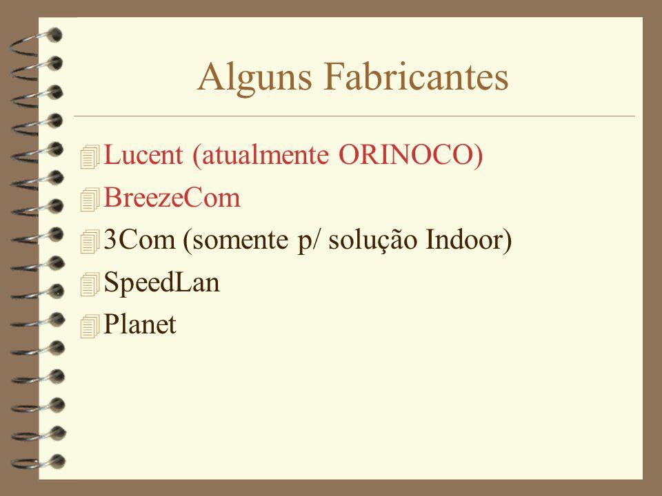 Alguns Fabricantes 4 Lucent (atualmente ORINOCO) 4 BreezeCom 4 3Com (somente p/ solução Indoor) 4 SpeedLan 4 Planet