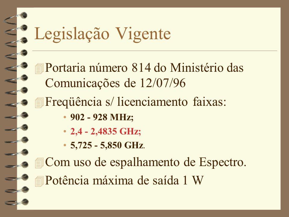 Legislação Vigente 4 Portaria número 814 do Ministério das Comunicações de 12/07/96 4 Freqüência s/ licenciamento faixas: 902 - 928 MHz; 2,4 - 2,4835