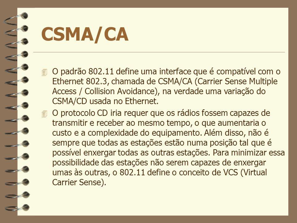CSMA/CA 4 O padrão 802.11 define uma interface que é compatível com o Ethernet 802.3, chamada de CSMA/CA (Carrier Sense Multiple Access / Collision Av