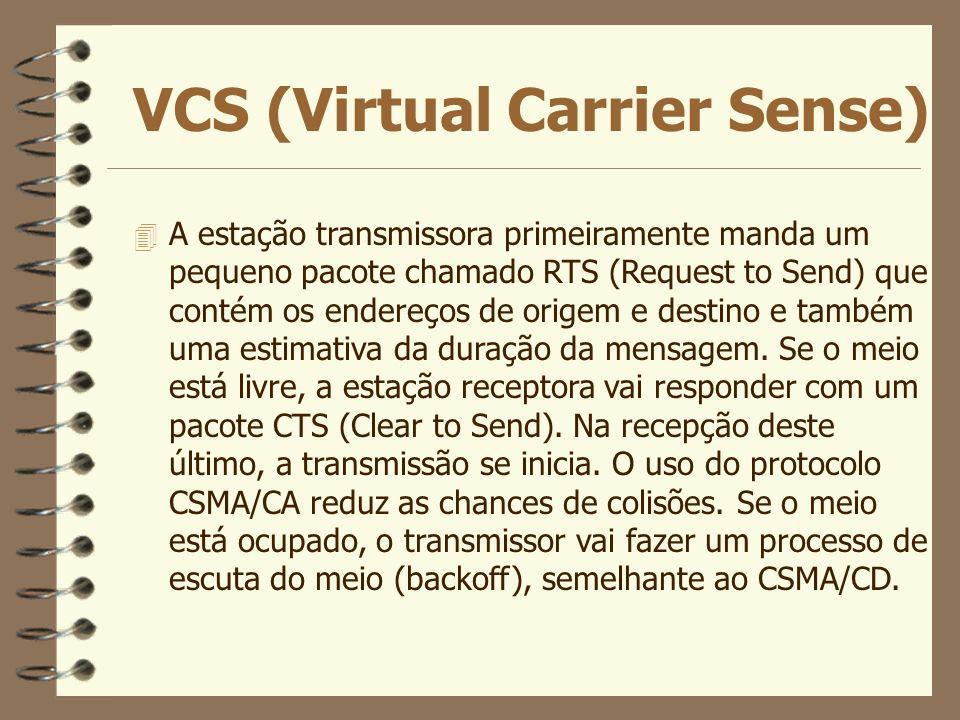 VCS (Virtual Carrier Sense) 4 A estação transmissora primeiramente manda um pequeno pacote chamado RTS (Request to Send) que contém os endereços de or