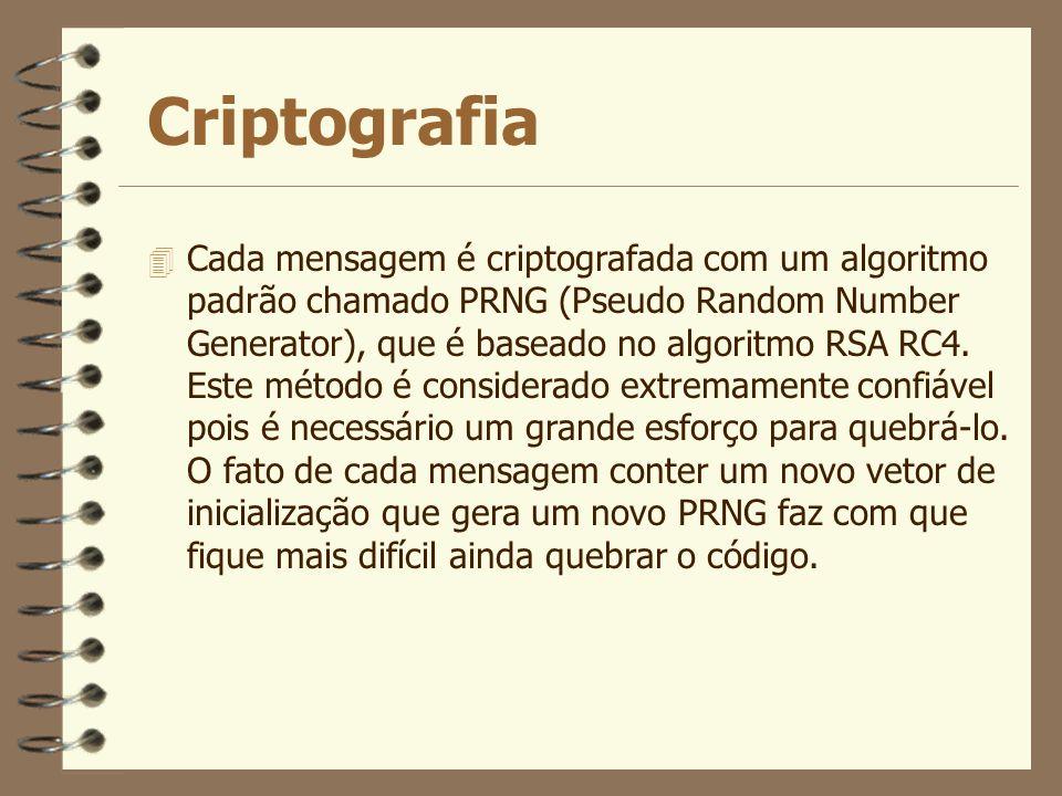 Criptografia 4 Cada mensagem é criptografada com um algoritmo padrão chamado PRNG (Pseudo Random Number Generator), que é baseado no algoritmo RSA RC4