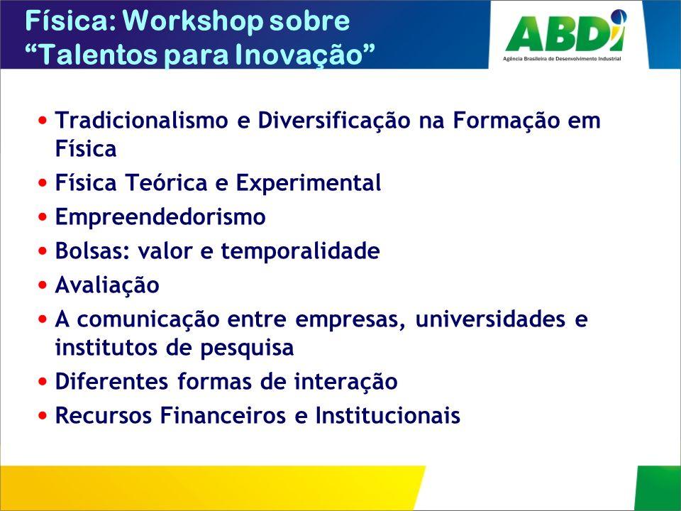 Física: Workshop sobre Talentos para Inovação Tradicionalismo e Diversificação na Formação em Física Física Teórica e Experimental Empreendedorismo Bo