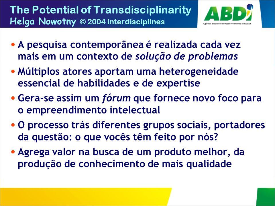 The Potential of Transdisciplinarity Helga Nowotny © 2004 interdisciplines A pesquisa contemporânea é realizada cada vez mais em um contexto de soluçã