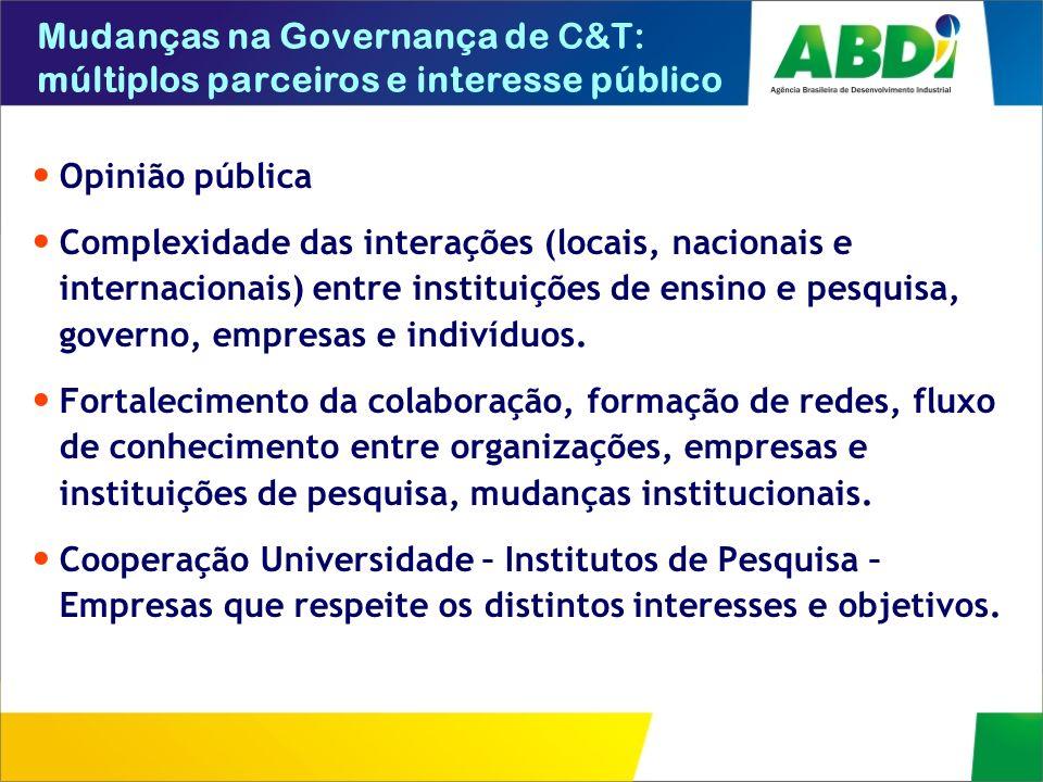 Mudanças na Governança de C&T: múltiplos parceiros e interesse público Opinião pública Complexidade das interações (locais, nacionais e internacionais
