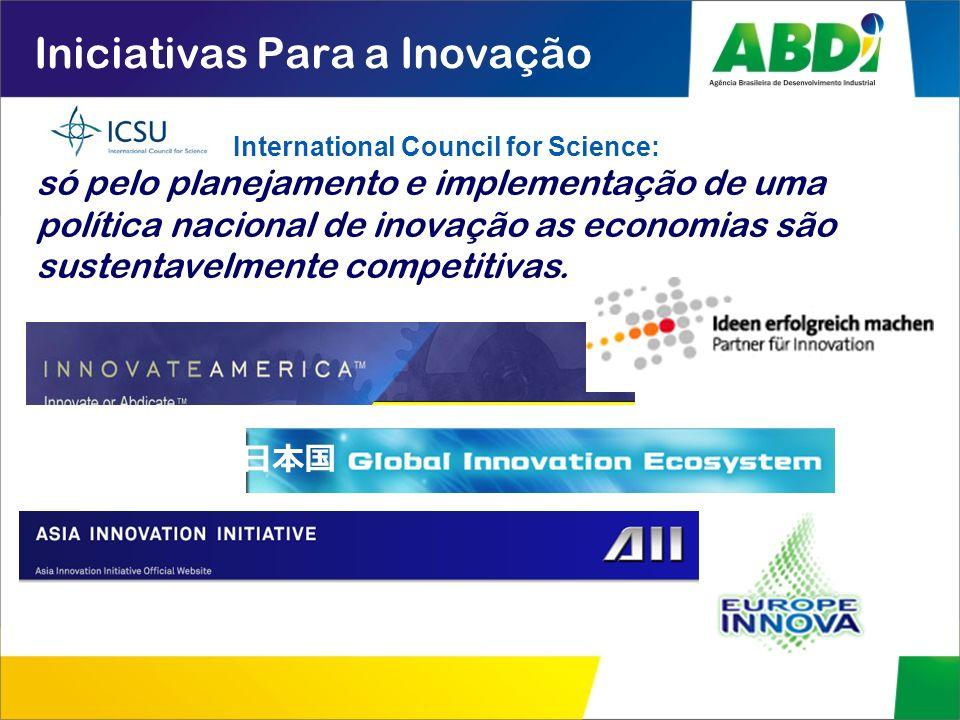 Iniciativas Para a Inovação só pelo planejamento e implementação de uma política nacional de inovação as economias são sustentavelmente competitivas.