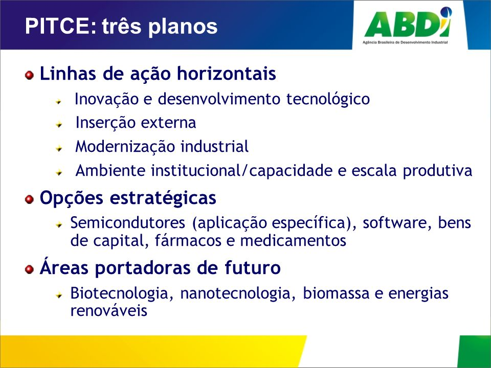 PITCE: três planos Linhas de ação horizontais Inovação e desenvolvimento tecnológico Inserção externa Modernização industrial Ambiente institucional/c