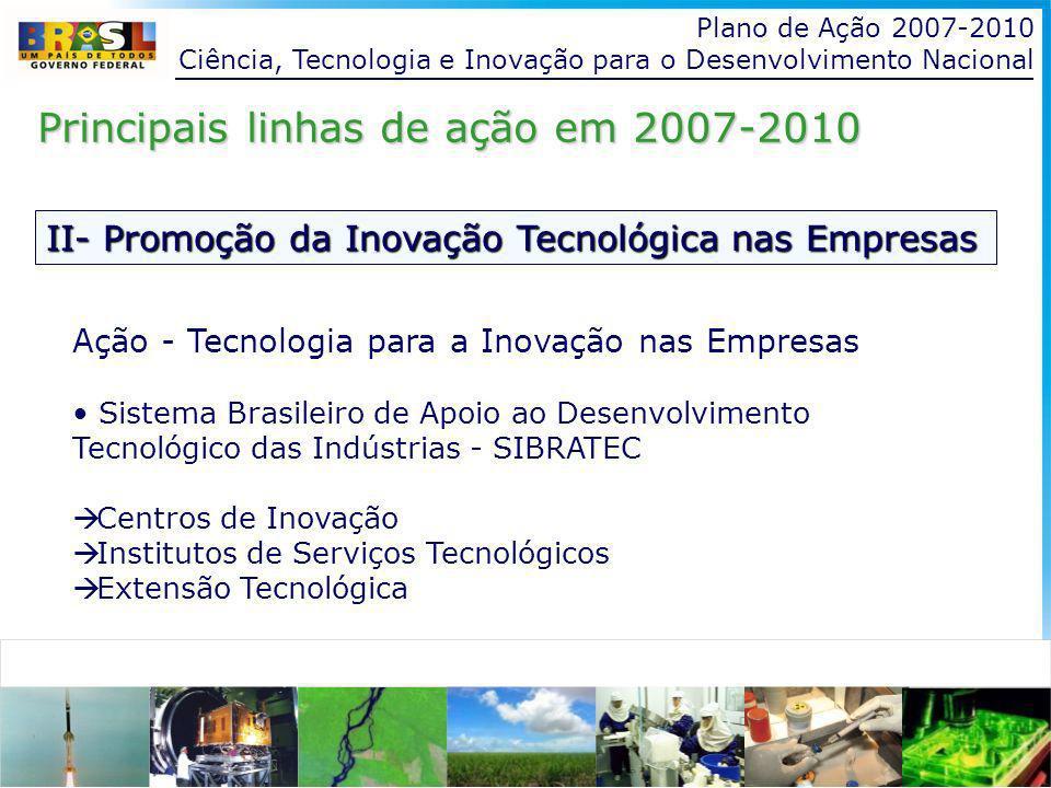 Plano de Ação 2007-2010 Ciência, Tecnologia e Inovação para o Desenvolvimento Nacional II- Promoção da Inovação Tecnológica nas Empresas Principais linhas de ação em 2007-2010 Ação - Tecnologia para a Inovação nas Empresas Sistema Brasileiro de Apoio ao Desenvolvimento Tecnológico das Indústrias - SIBRATEC Centros de Inovação Institutos de Serviços Tecnológicos Extensão Tecnológica