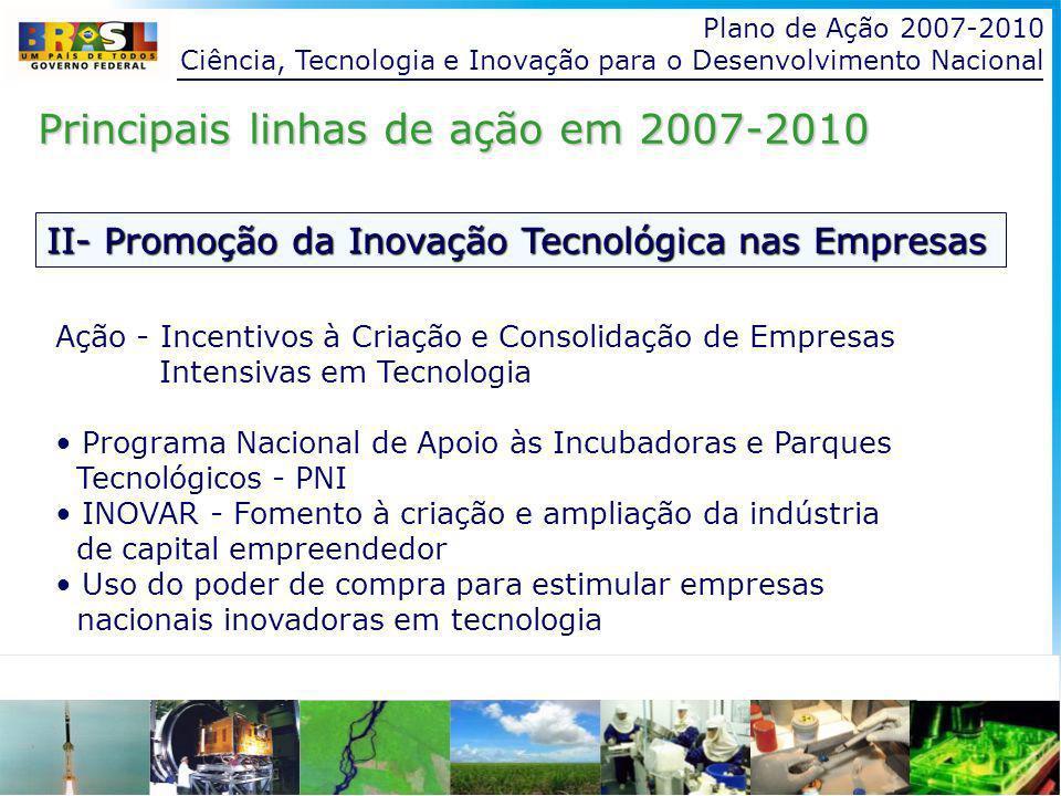 Plano de Ação 2007-2010 Ciência, Tecnologia e Inovação para o Desenvolvimento Nacional II- Promoção da Inovação Tecnológica nas Empresas Principais linhas de ação em 2007-2010 Ação - Incentivos à Criação e Consolidação de Empresas Intensivas em Tecnologia Programa Nacional de Apoio às Incubadoras e Parques Tecnológicos - PNI INOVAR - Fomento à criação e ampliação da indústria de capital empreendedor Uso do poder de compra para estimular empresas nacionais inovadoras em tecnologia