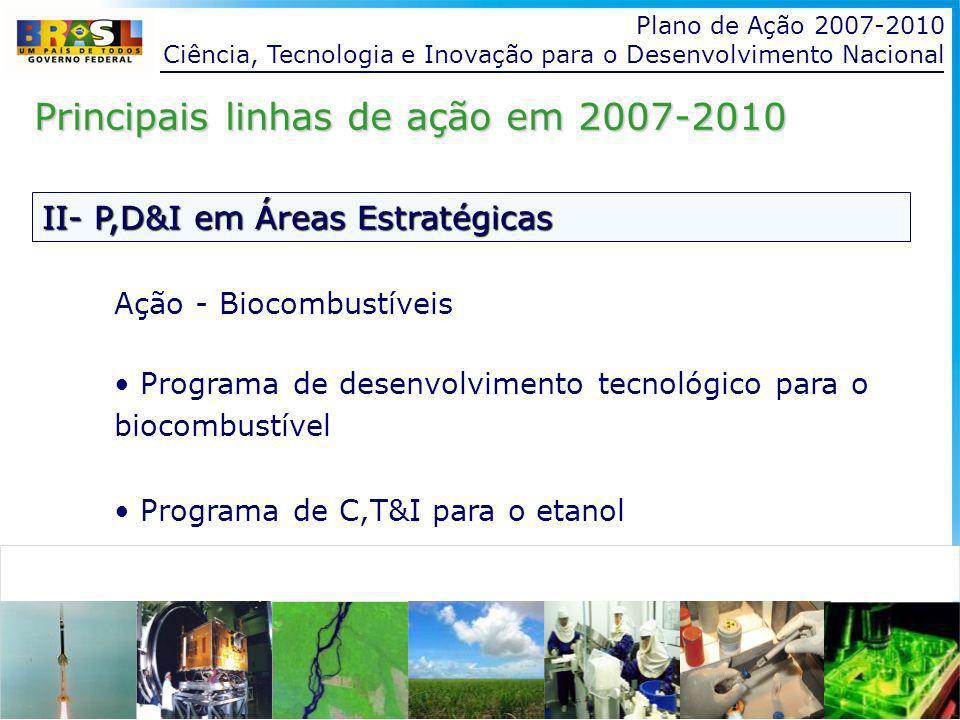 Plano de Ação 2007-2010 Ciência, Tecnologia e Inovação para o Desenvolvimento Nacional II- P,D&I em Áreas Estratégicas Principais linhas de ação em 2007-2010 Ação - Biocombustíveis Programa de desenvolvimento tecnológico para o biocombustível Programa de C,T&I para o etanol