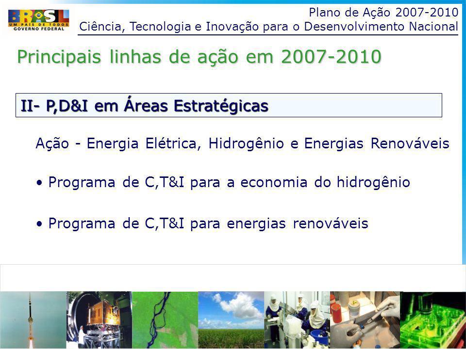 Plano de Ação 2007-2010 Ciência, Tecnologia e Inovação para o Desenvolvimento Nacional II- P,D&I em Áreas Estratégicas Principais linhas de ação em 2007-2010 Ação - Energia Elétrica, Hidrogênio e Energias Renováveis Programa de C,T&I para a economia do hidrogênio Programa de C,T&I para energias renováveis