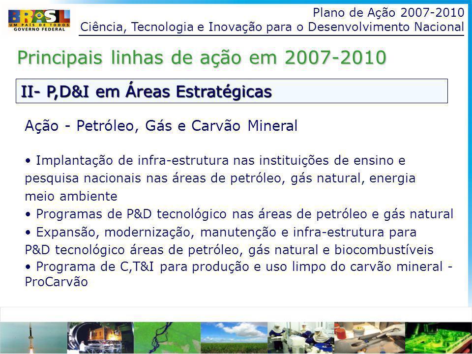 Plano de Ação 2007-2010 Ciência, Tecnologia e Inovação para o Desenvolvimento Nacional II- P,D&I em Áreas Estratégicas Principais linhas de ação em 2007-2010 Ação - Petróleo, Gás e Carvão Mineral Implantação de infra-estrutura nas instituições de ensino e pesquisa nacionais nas áreas de petróleo, gás natural, energia meio ambiente Programas de P&D tecnológico nas áreas de petróleo e gás natural Expansão, modernização, manutenção e infra-estrutura para P&D tecnológico áreas de petróleo, gás natural e biocombustíveis Programa de C,T&I para produção e uso limpo do carvão mineral - ProCarvão