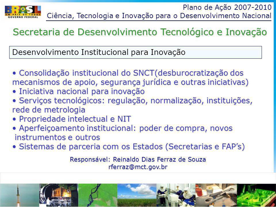 Plano de Ação 2007-2010 Ciência, Tecnologia e Inovação para o Desenvolvimento Nacional Desenvolvimento Institucional para Inovação Secretaria de Desenvolvimento Tecnológico e Inovação Consolidação institucional do SNCT(desburocratização dos mecanismos de apoio, segurança jurídica e outras iniciativas) Consolidação institucional do SNCT(desburocratização dos mecanismos de apoio, segurança jurídica e outras iniciativas) Iniciativa nacional para inovação Iniciativa nacional para inovação Serviços tecnológicos: regulação, normalização, instituições, rede de metrologia Serviços tecnológicos: regulação, normalização, instituições, rede de metrologia Propriedade intelectual e NIT Propriedade intelectual e NIT Aperfeiçoamento institucional: poder de compra, novos Aperfeiçoamento institucional: poder de compra, novos instrumentos e outros instrumentos e outros Sistemas de parceria com os Estados (Secretarias e FAPs) Sistemas de parceria com os Estados (Secretarias e FAPs) Responsável: Reinaldo Dias Ferraz de Souza rferraz@mct.gov.br