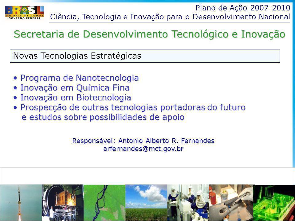 Plano de Ação 2007-2010 Ciência, Tecnologia e Inovação para o Desenvolvimento Nacional Novas Tecnologias Estratégicas Secretaria de Desenvolvimento Tecnológico e Inovação Programa de Nanotecnologia Inovação em Química Fina Inovação em Química Fina Inovação em Biotecnologia Inovação em Biotecnologia Prospecção de outras tecnologias portadoras do futuro Prospecção de outras tecnologias portadoras do futuro e estudos sobre possibilidades de apoio e estudos sobre possibilidades de apoio Responsável: Antonio Alberto R.