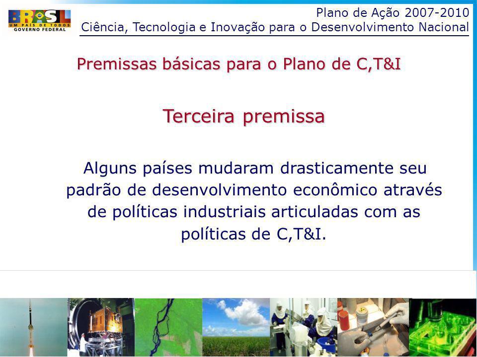 Plano de Ação 2007-2010 Ciência, Tecnologia e Inovação para o Desenvolvimento Nacional Quarta premissa Existe no Brasil massa crítica para uma gradual aproximação aos níveis tecnológicos das economias desenvolvidas: somos um país intermediário, no mundo, em termos de capacidade produtiva e acadêmica, capazes, portanto, de superar nosso atraso relativo e de atingir um patamar que se aproxime ao dos países desenvolvidos.