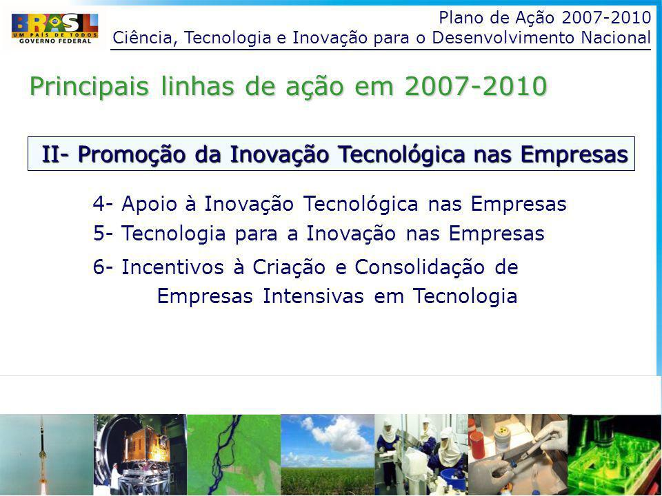 Plano de Ação 2007-2010 Ciência, Tecnologia e Inovação para o Desenvolvimento Nacional II- Promoção da Inovação Tecnológica nas Empresas Principais linhas de ação em 2007-2010 Ação - Apoio à Inovação Tecnológica nas Empresas Apoio financeiro às atividades de P,D&I e à inserção de pesquisadores nas empresas Apoio à cooperação entre empresas e ICTs Iniciativa nacional para a inovação Capacitação de recursos humanos para a inovação
